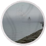 Round Beach Towel featuring the photograph Emerging From The Fog by Jeff Folger