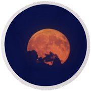 Emerging Moon Round Beach Towel