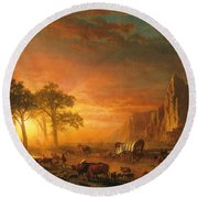 Round Beach Towel featuring the photograph Emigrants Crossing The Plains - 1867 by Albert Bierstadt