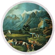 Emigrants Crossing The Plains Round Beach Towel