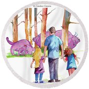 Emilia And Evelyn's Squizit Visit Round Beach Towel