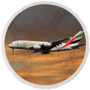 Emirates Airbus A380-861 3 Round Beach Towel