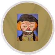 Round Beach Towel featuring the pastel The Clown  by Antonia Citrino