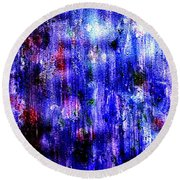 Round Beach Towel featuring the painting Emotions Coming Down Like Purple Rain by Kimberlee Baxter