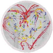 Emotions Of The Heart Round Beach Towel