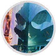Round Beach Towel featuring the photograph Emp Psychadelic by Chris Dutton