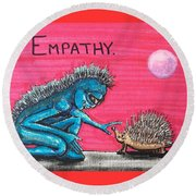 Round Beach Towel featuring the painting Empathetic Alien by Similar Alien