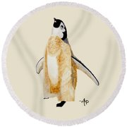 Emperor Penguin Chick Round Beach Towel