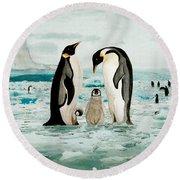 Emperor Penguin Family Round Beach Towel