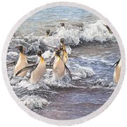 Round Beach Towel featuring the painting Emperor Penguins by Alan M Hunt