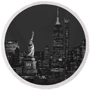 Round Beach Towel featuring the photograph Empire State And Statue Of Liberty II Bw by Susan Candelario