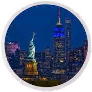 Round Beach Towel featuring the photograph Empire State And Statue Of Liberty II by Susan Candelario