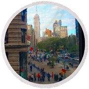 Round Beach Towel featuring the photograph Empire State Building - Crackled View 2 by Madeline Ellis