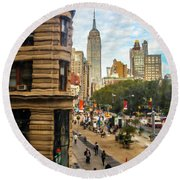 Round Beach Towel featuring the photograph Empire State Building - Crackled View 3 by Madeline Ellis
