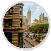 Round Beach Towel featuring the photograph Empire State Building - Crackled View by Madeline Ellis