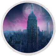 Empire State Building Moonlight Round Beach Towel