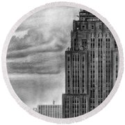 Empire State Building New York Pencil Drawing Round Beach Towel