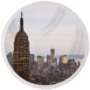 Empire State Building No.2 Round Beach Towel by Zawhaus Photography
