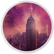Empire State Building Sunset Round Beach Towel