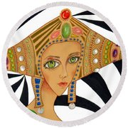 Empress Exotica -- Whimsical Exotic Woman Round Beach Towel