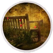 Empty Bench And Poppies Round Beach Towel