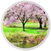 Round Beach Towel featuring the photograph Empty Bench Surrounded By Spring Colors by Gary Slawsky