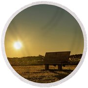 Round Beach Towel featuring the photograph Empty Cavendish Beach Bench by Chris Bordeleau
