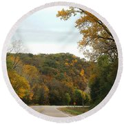Round Beach Towel featuring the photograph Empty Highway by Yumi Johnson