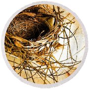 Round Beach Towel featuring the photograph Empty Nest by Jan Amiss Photography