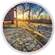 Round Beach Towel featuring the photograph Empty Park Bench - Sunset At Lapham Peak by Jennifer Rondinelli Reilly - Fine Art Photography
