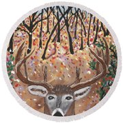 Empty Tree Stand. Round Beach Towel