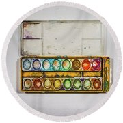 Empty Watercolor Paint Trays Round Beach Towel