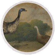 Emu, Cape Barren Goose And Magpie Goose Round Beach Towel