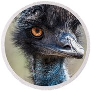 Emu Eyes Round Beach Towel