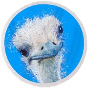 Emu Painting Round Beach Towel