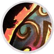 Round Beach Towel featuring the mixed media En Joy Ll by Sandi OReilly