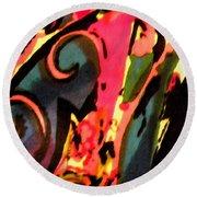 Round Beach Towel featuring the mixed media En Joy by Sandi OReilly