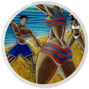 Round Beach Towel featuring the painting En Luquillo Se Goza by Oscar Ortiz