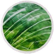 Encaustic Abstract Green Fan Foliage Round Beach Towel