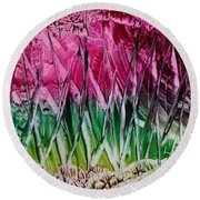 Encaustic Abstract Pinks Greens Round Beach Towel