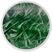 Encaustic Green Foliage With Some Blue Round Beach Towel
