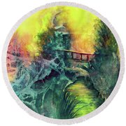 Round Beach Towel featuring the painting Enchanted Bridge by Allison Ashton