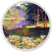 Enchanted By Daisies, Modern Impressionism, Wildflowers, Silver Birch, Aspen Round Beach Towel by Jane Small