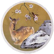 Enchanted Doe Round Beach Towel