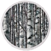 Enchanted Forest -black And White Round Beach Towel