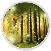 Enchanted Forest - Fantasy Art By Giada Rossi Round Beach Towel