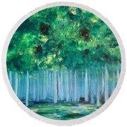 Enchanted Poplars Round Beach Towel