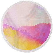 Round Beach Towel featuring the digital art Enchanted Scenery #2 by Klara Acel
