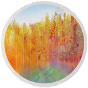 Round Beach Towel featuring the digital art Enchanted Scenery #3 by Klara Acel