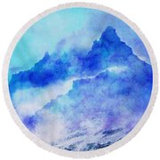 Round Beach Towel featuring the digital art Enchanted Scenery #4 by Klara Acel